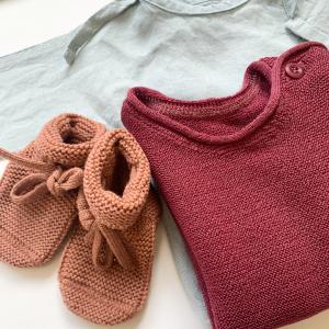 Babykleider Sommer Baby-Schühchen Merino-Wolle, Baby-Shirt Merinowolle, Baby Leinen Jäckchen