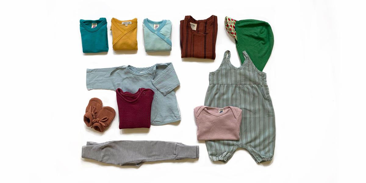 Set Bio Babykleider Sommer aus Merinowolle, Seide und Leinen