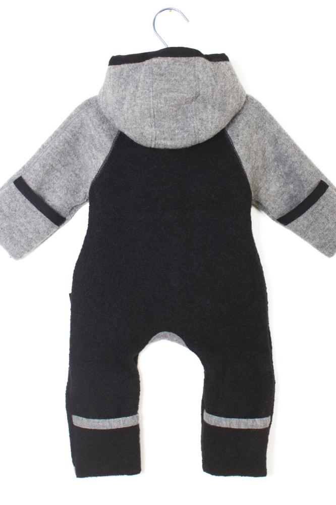 Baby Overall Wollwalk von Manitober grau schwarz Ansicht von hinten