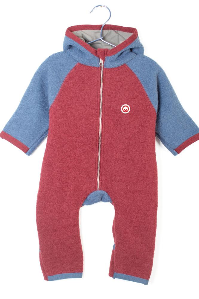 Baby Walkoverall Manitober rot blau Ansicht von vorn